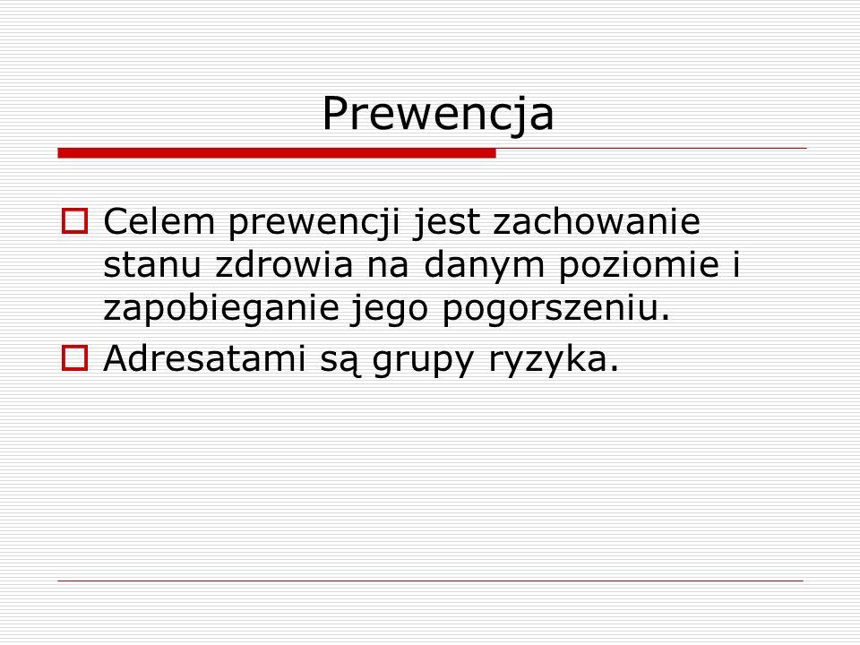 Prewencja Celem prewencji jest zachowanie stanu zdrowia na danym poziomie i zapobieganie jego pogorszeniu.