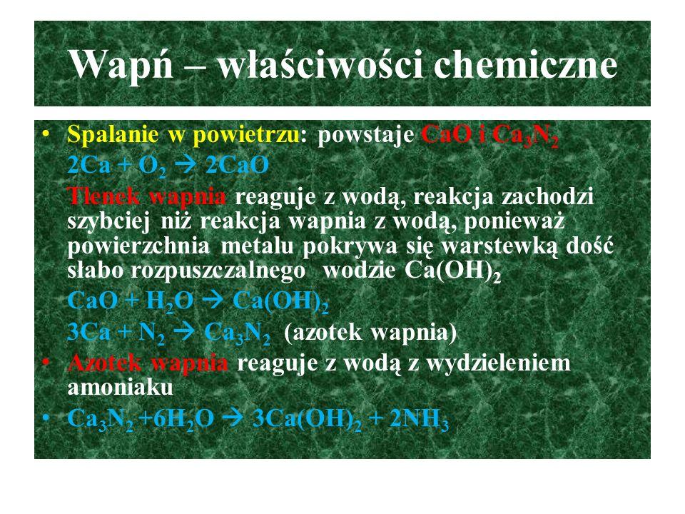Wapń – właściwości chemiczne