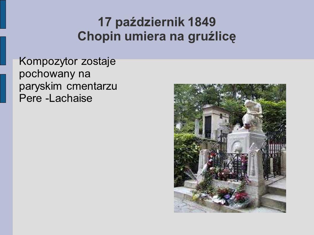17 październik 1849 Chopin umiera na gruźlicę
