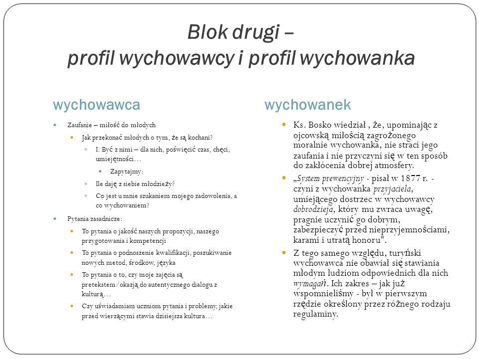 Blok drugi – profil wychowawcy i profil wychowanka