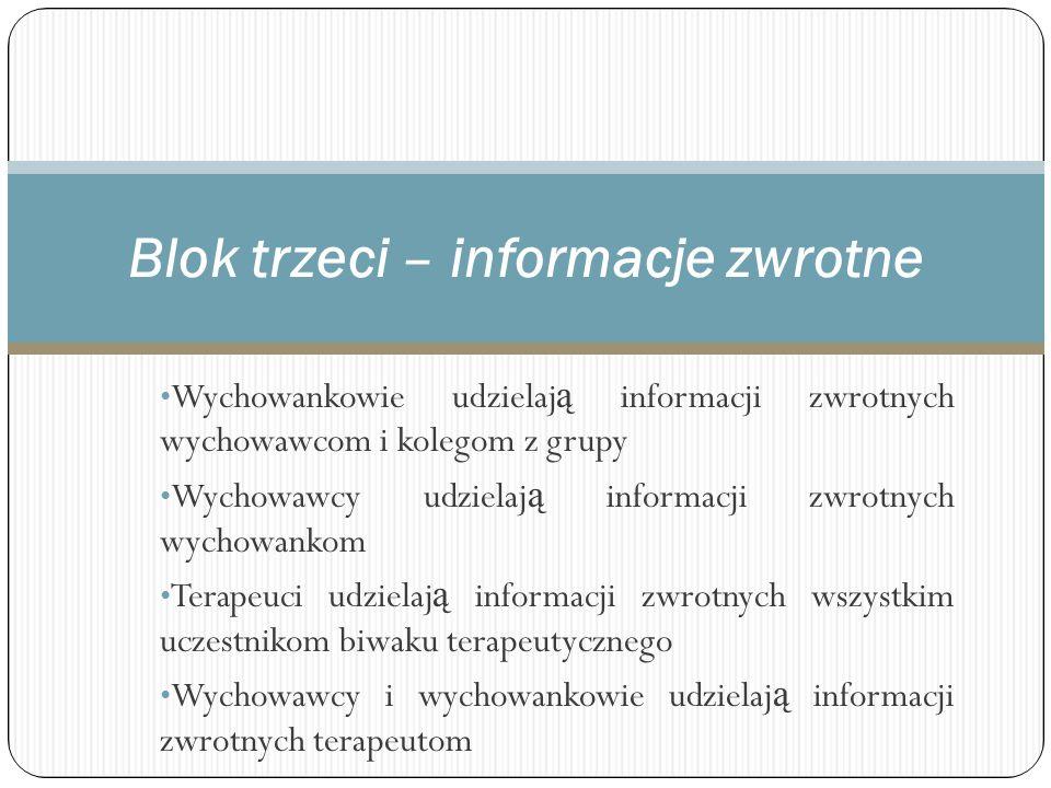 Blok trzeci – informacje zwrotne