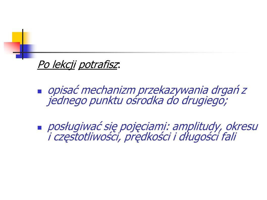 Po lekcji potrafisz: opisać mechanizm przekazywania drgań z jednego punktu ośrodka do drugiego;