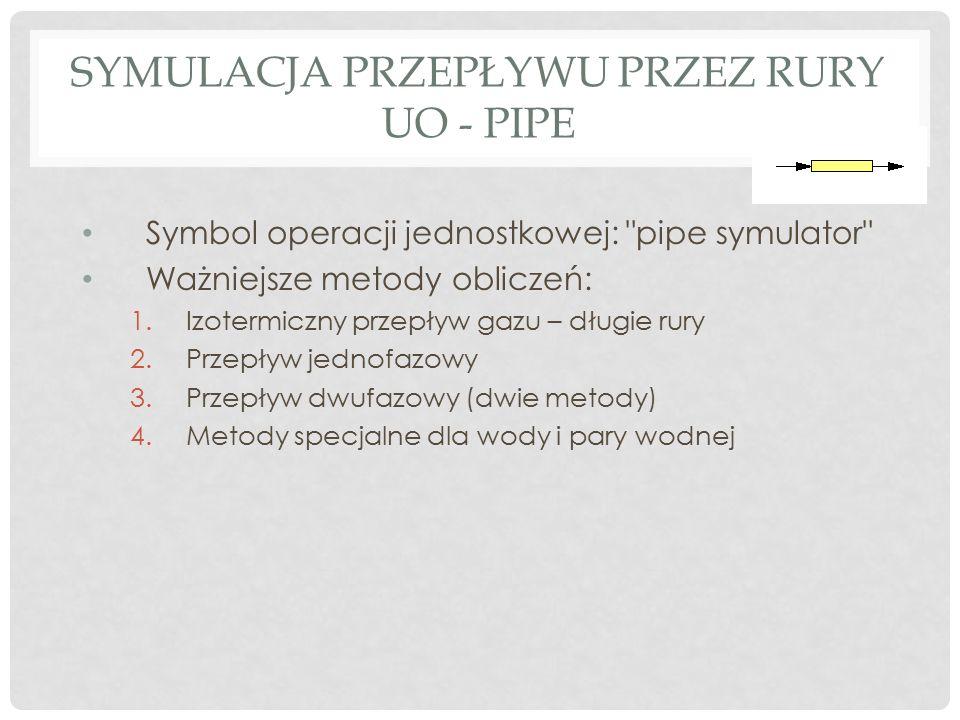 Symulacja przepływu przez rury UO - Pipe
