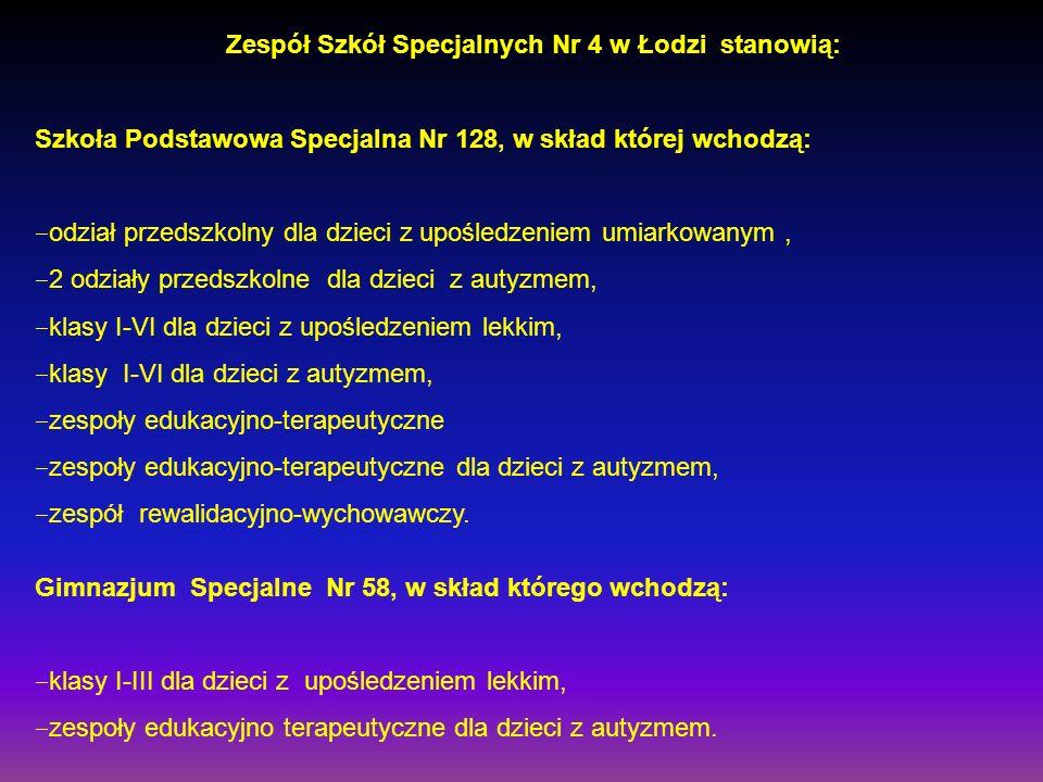 Zespół Szkół Specjalnych Nr 4 w Łodzi stanowią: