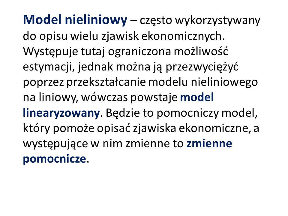 Model nieliniowy – często wykorzystywany do opisu wielu zjawisk ekonomicznych.