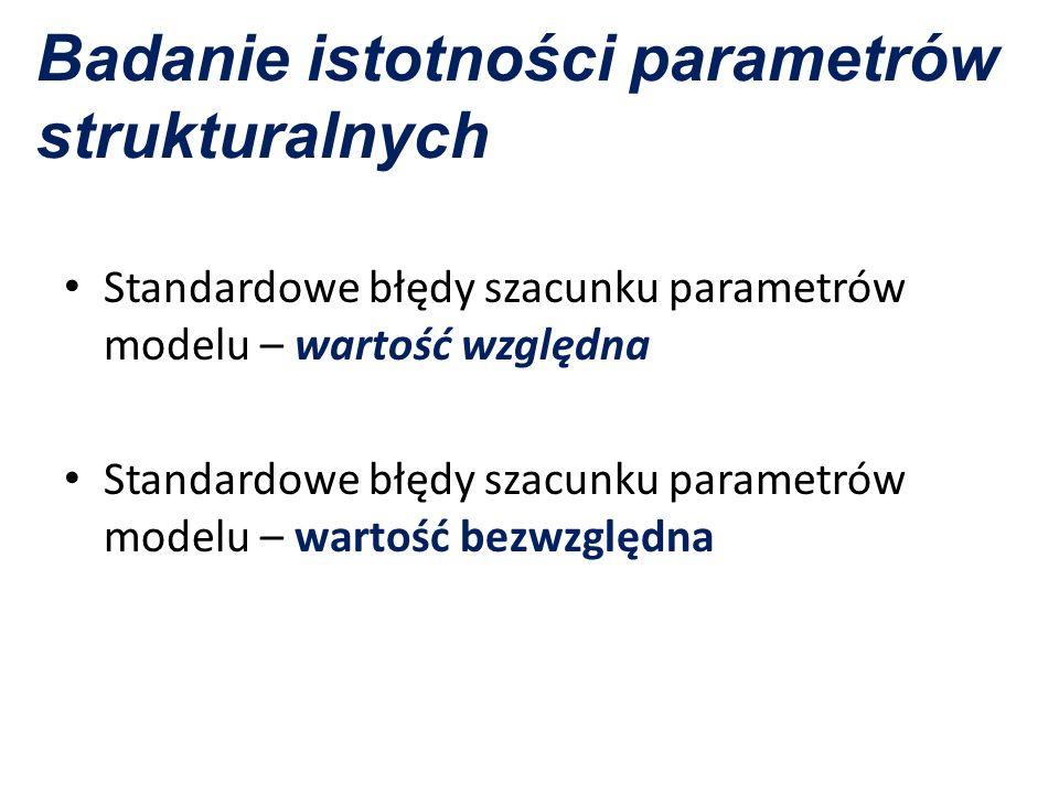 Badanie istotności parametrów strukturalnych