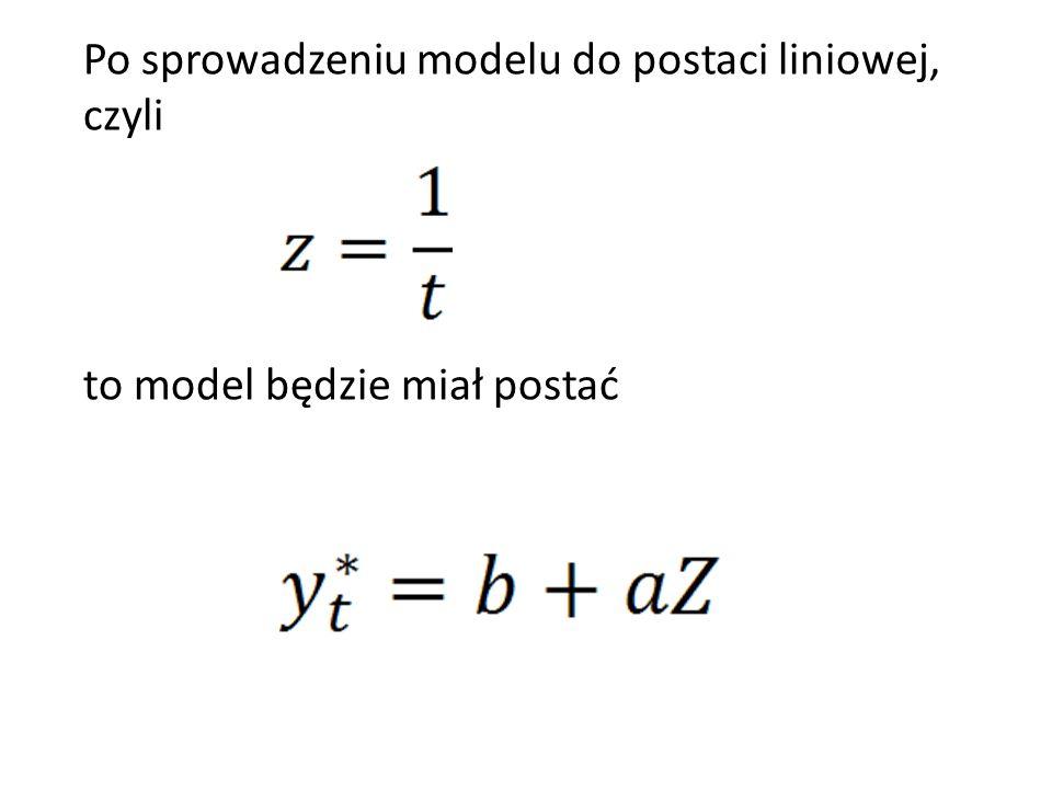 Po sprowadzeniu modelu do postaci liniowej, czyli to model będzie miał postać