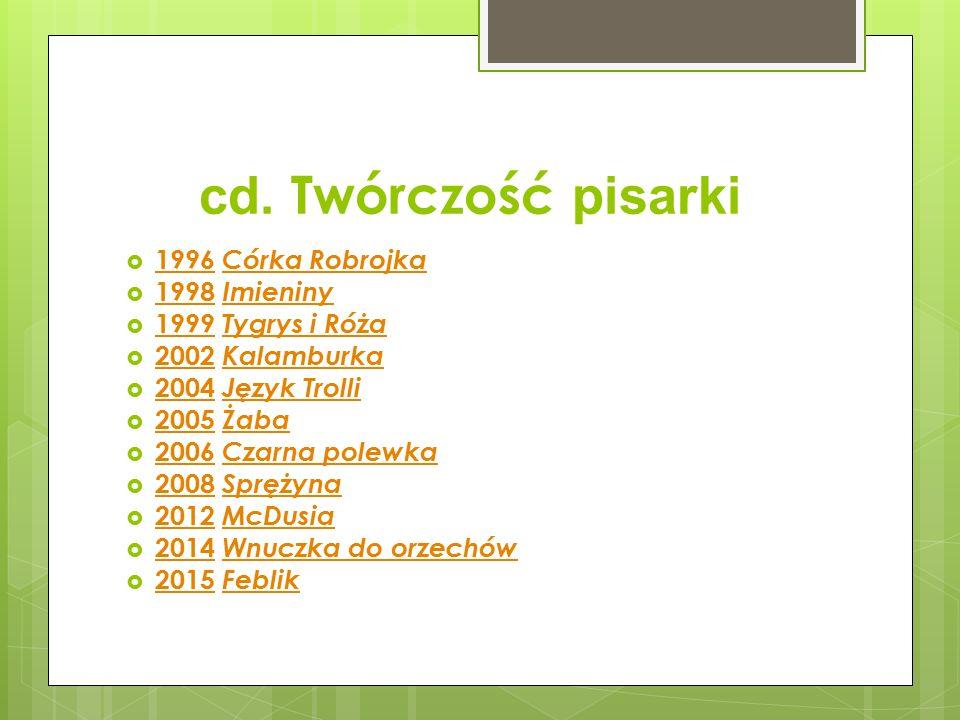cd. Twórczość pisarki 1996 Córka Robrojka 1998 Imieniny