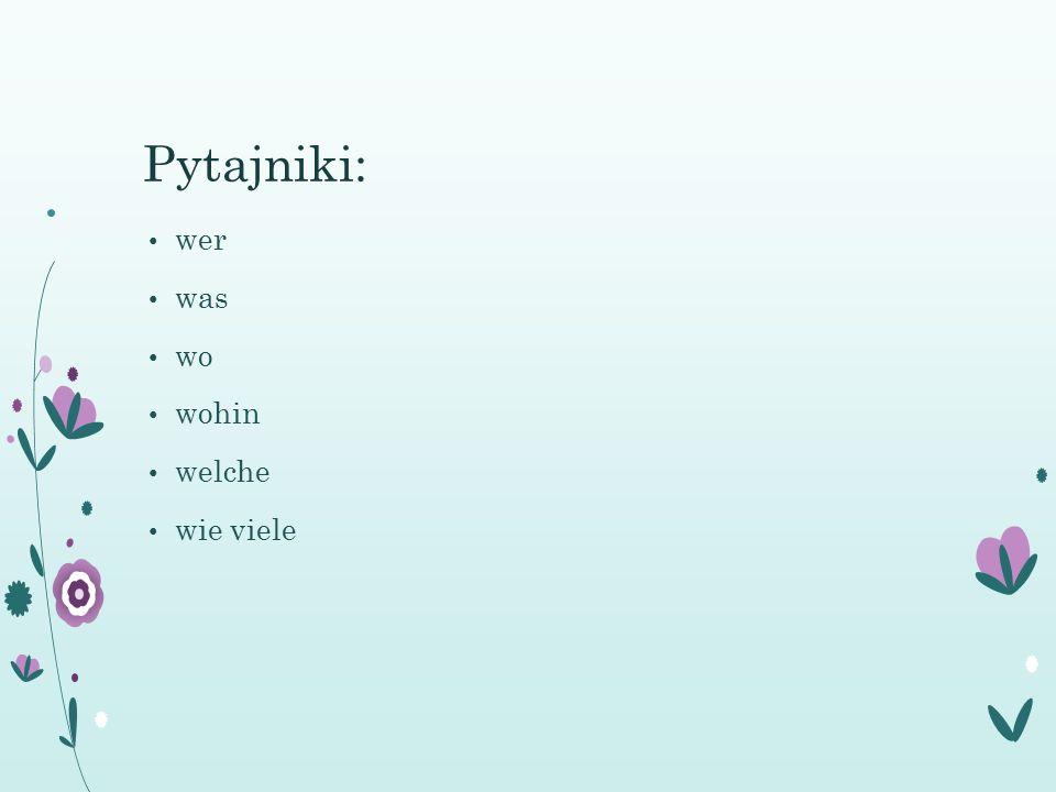 Pytajniki: wer was wo wohin welche wie viele