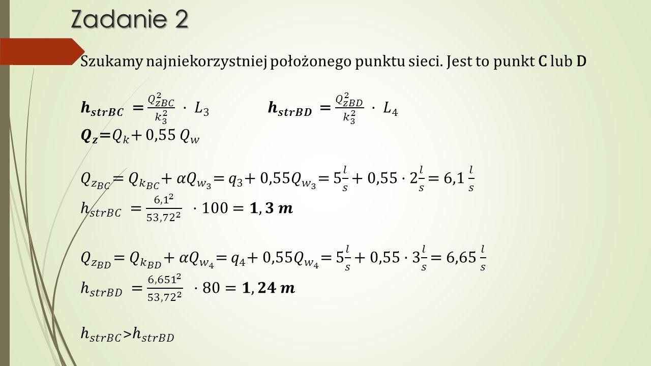 Zadanie 2 Szukamy najniekorzystniej położonego punktu sieci. Jest to punkt C lub D.