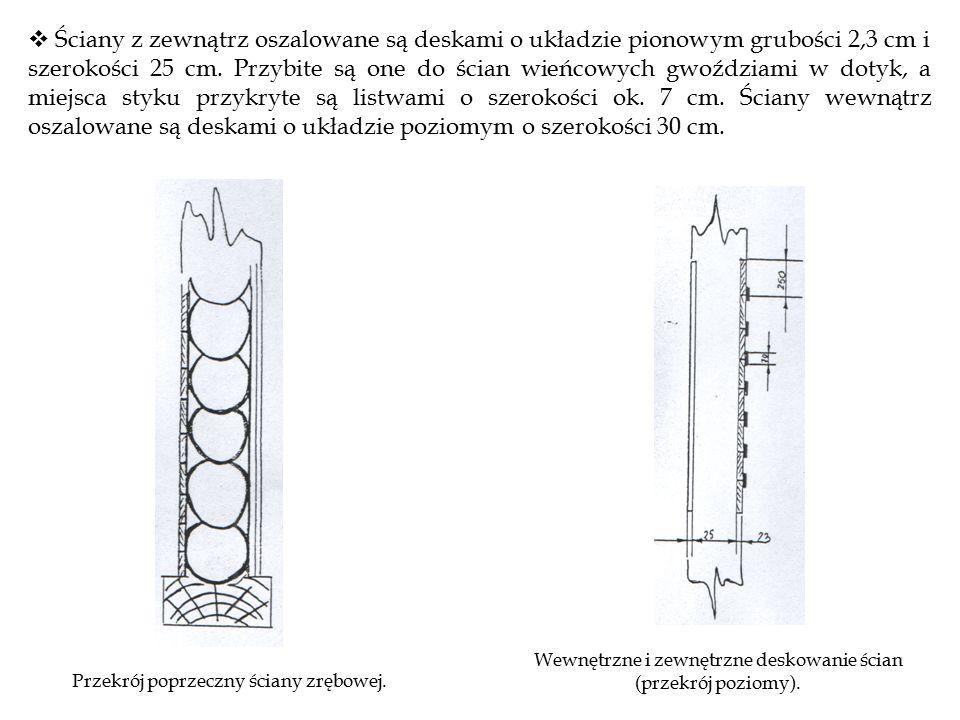 Ściany z zewnątrz oszalowane są deskami o układzie pionowym grubości 2,3 cm i szerokości 25 cm. Przybite są one do ścian wieńcowych gwoździami w dotyk, a miejsca styku przykryte są listwami o szerokości ok. 7 cm. Ściany wewnątrz oszalowane są deskami o układzie poziomym o szerokości 30 cm.