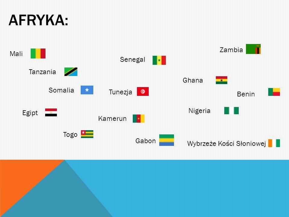AFRYKA: Zambia Mali Senegal Tanzania Ghana Somalia Tunezja Benin