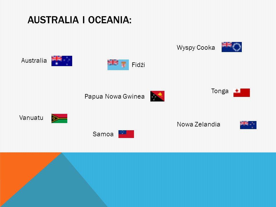 AUSTRALIA I OCEANIA: Wyspy Cooka Australia Fidżi Tonga