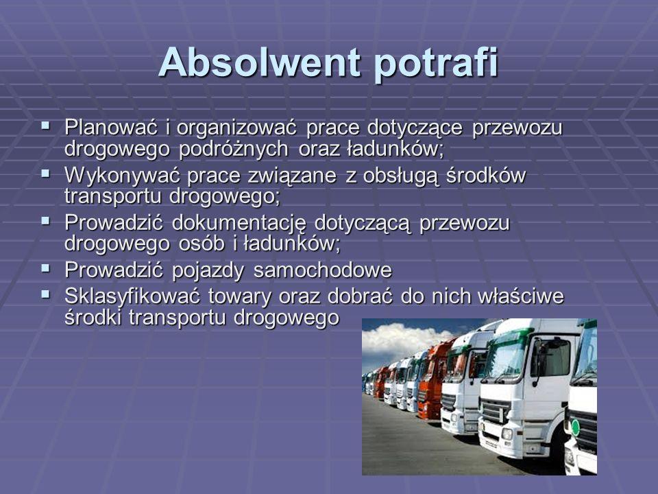 Absolwent potrafi Planować i organizować prace dotyczące przewozu drogowego podróżnych oraz ładunków;
