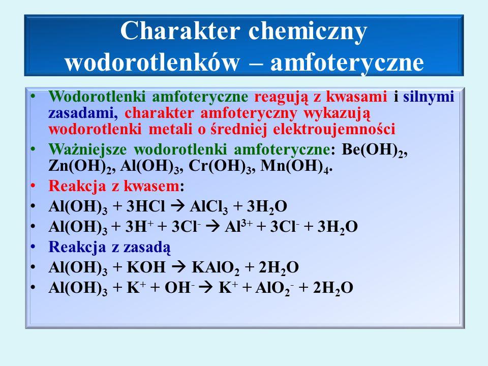 Charakter chemiczny wodorotlenków – amfoteryczne