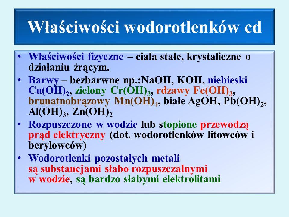 Właściwości wodorotlenków cd