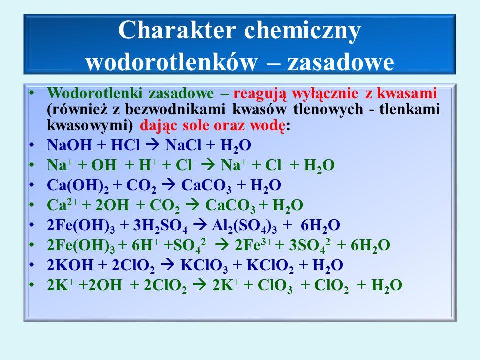 Charakter chemiczny wodorotlenków – zasadowe