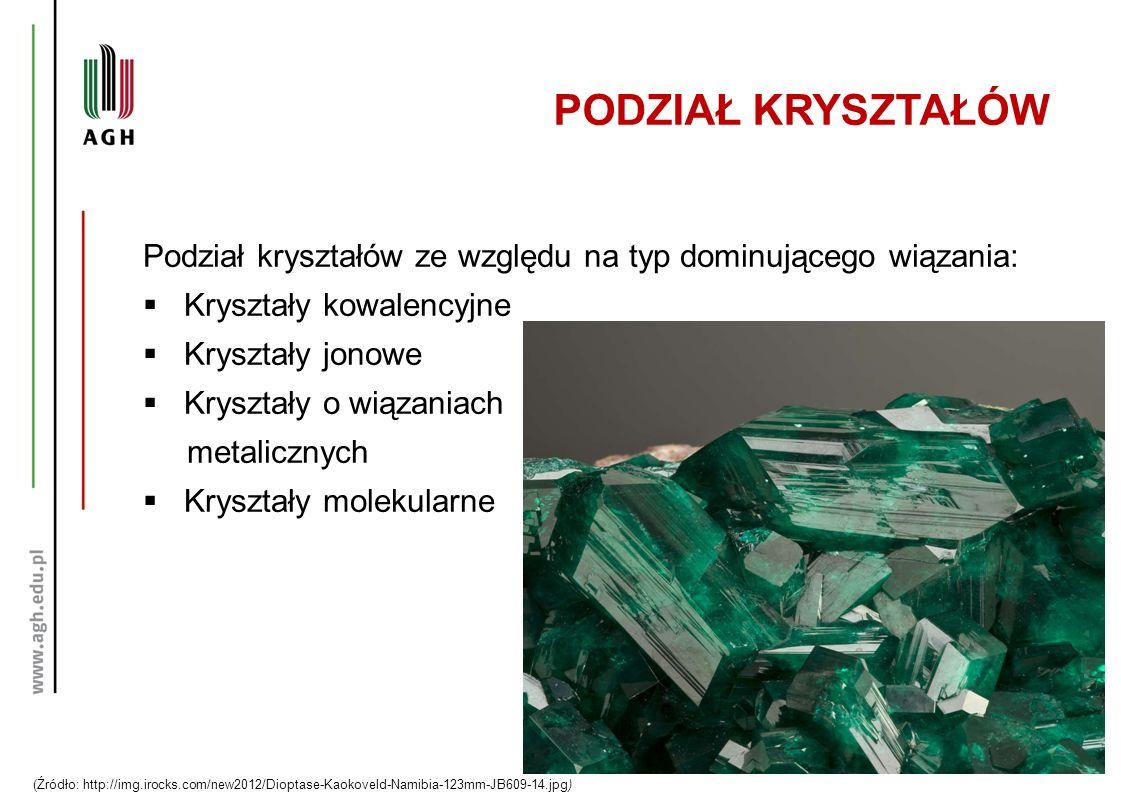 PODZIAŁ KRYSZTAŁÓW Podział kryształów ze względu na typ dominującego wiązania: Kryształy kowalencyjne.
