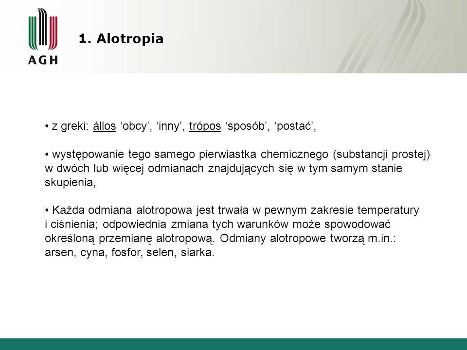 1. Alotropia z greki: állos 'obcy', 'inny', trópos 'sposób', 'postać',