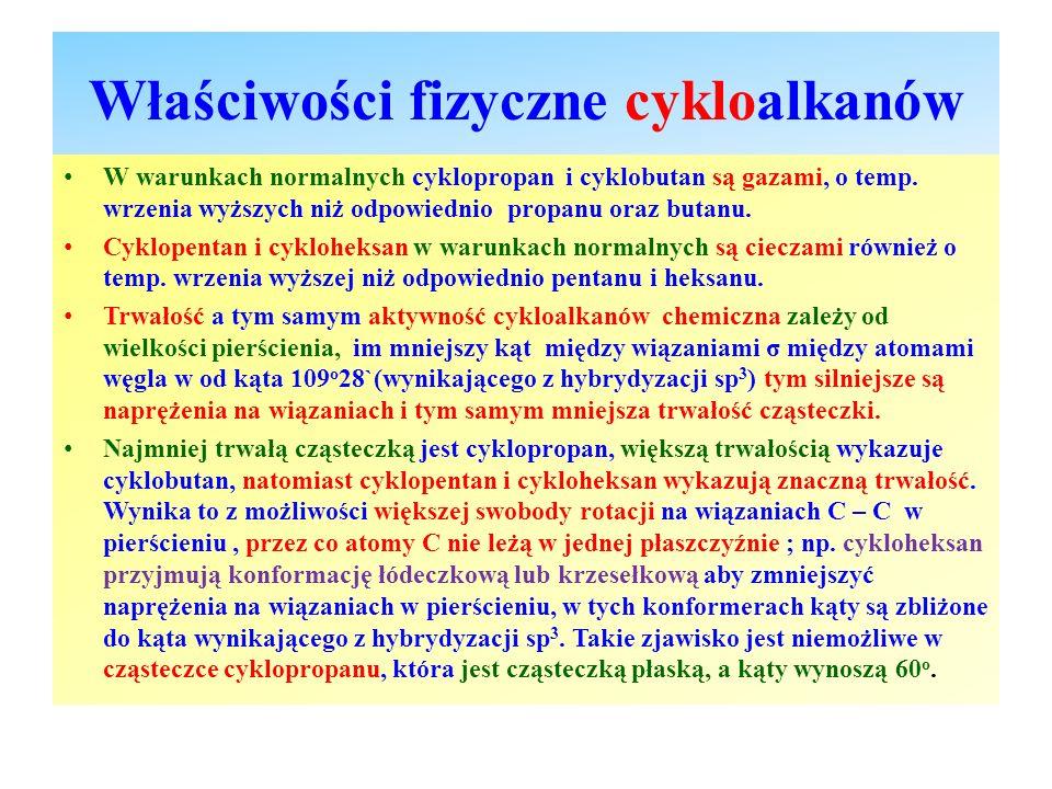 Właściwości fizyczne cykloalkanów