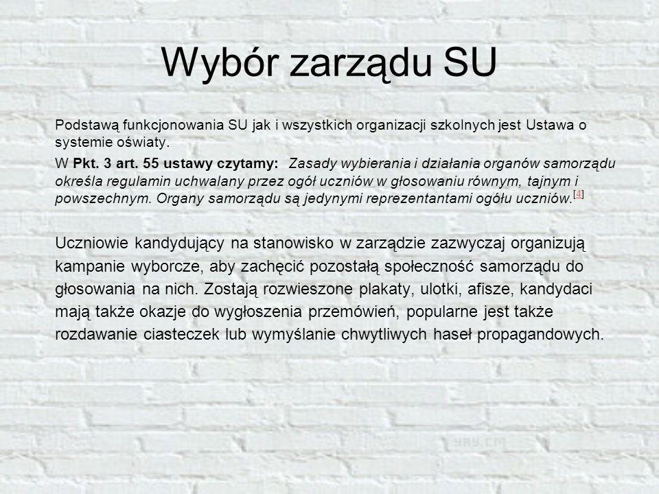 Wybór zarządu SU Podstawą funkcjonowania SU jak i wszystkich organizacji szkolnych jest Ustawa o systemie oświaty.
