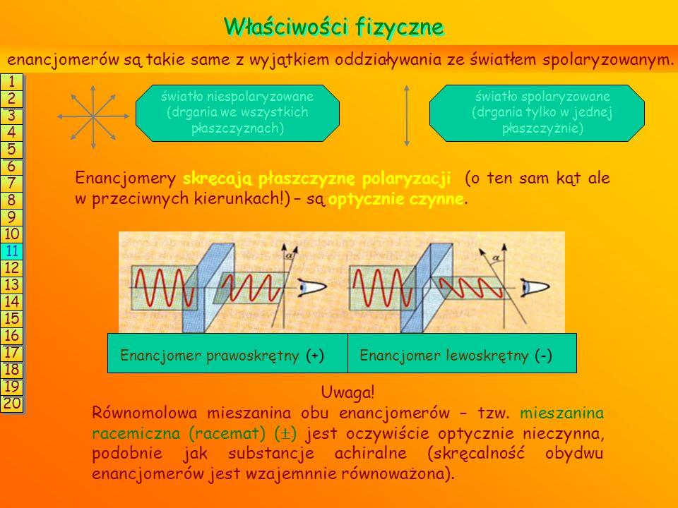 Właściwości fizyczne enancjomerów są takie same z wyjątkiem oddziaływania ze światłem spolaryzowanym.