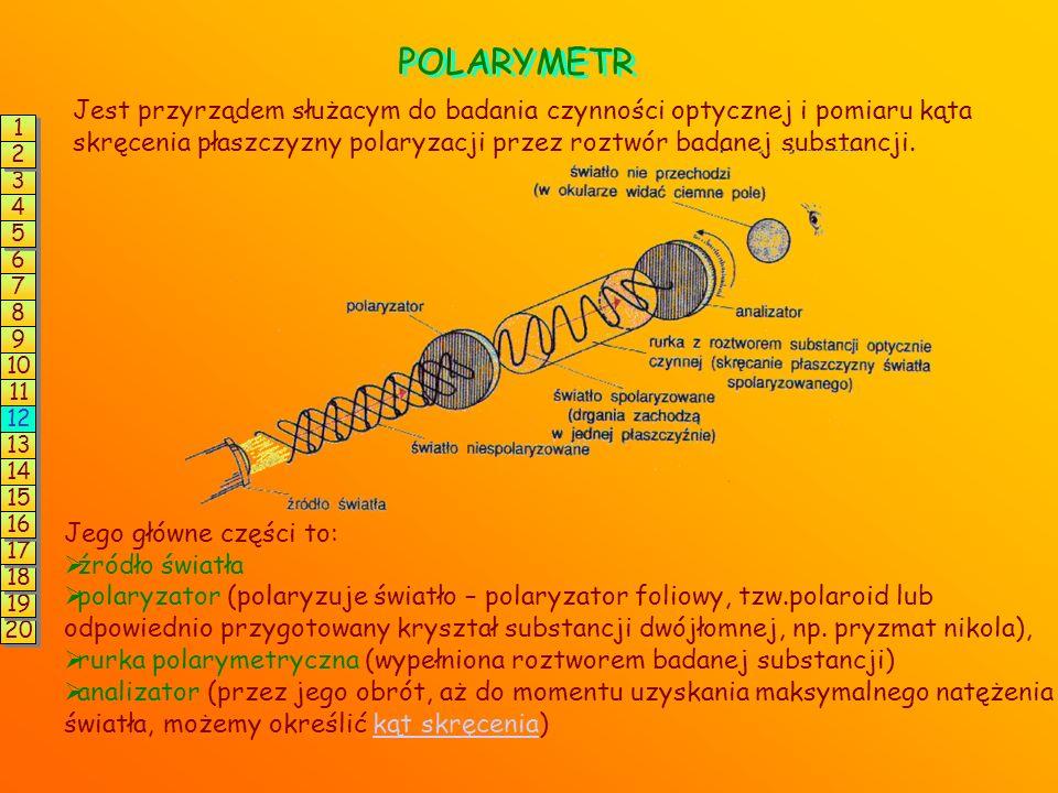 POLARYMETR Jest przyrządem służacym do badania czynności optycznej i pomiaru kąta skręcenia płaszczyzny polaryzacji przez roztwór badanej substancji.