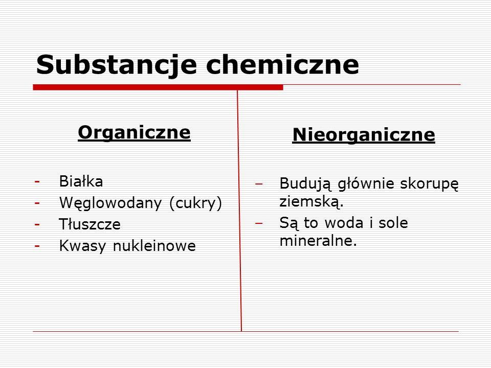 Substancje chemiczne Organiczne Nieorganiczne Białka