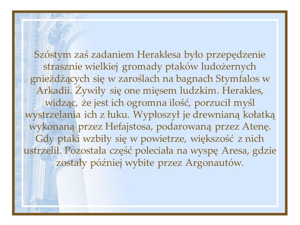 Szóstym zaś zadaniem Heraklesa było przepędzenie strasznie wielkiej gromady ptaków ludożernych gnieżdżących się w zaroślach na bagnach Stymfalos w Arkadii.