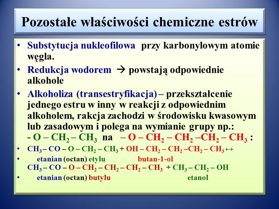 Pozostałe właściwości chemiczne estrów