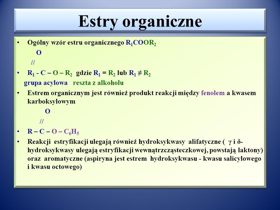 Estry organiczne Ogólny wzór estru organicznego R1COOR2 O //