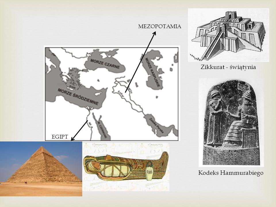 MEZOPOTAMIA Zikkurat - świątynia EGIPT Kodeks Hammurabiego