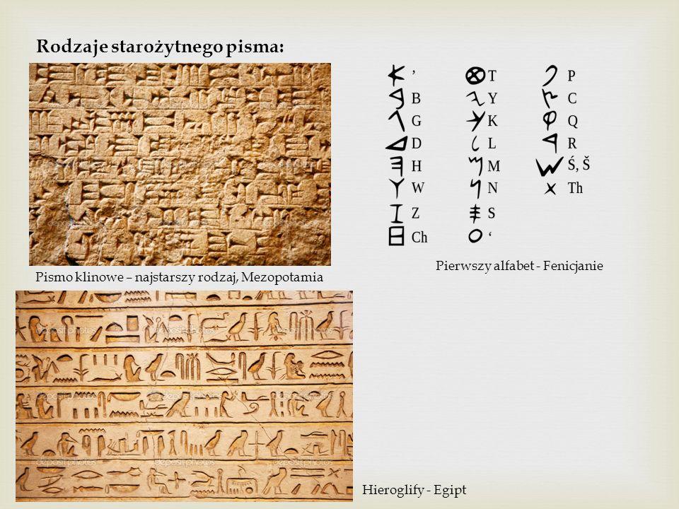 Rodzaje starożytnego pisma: