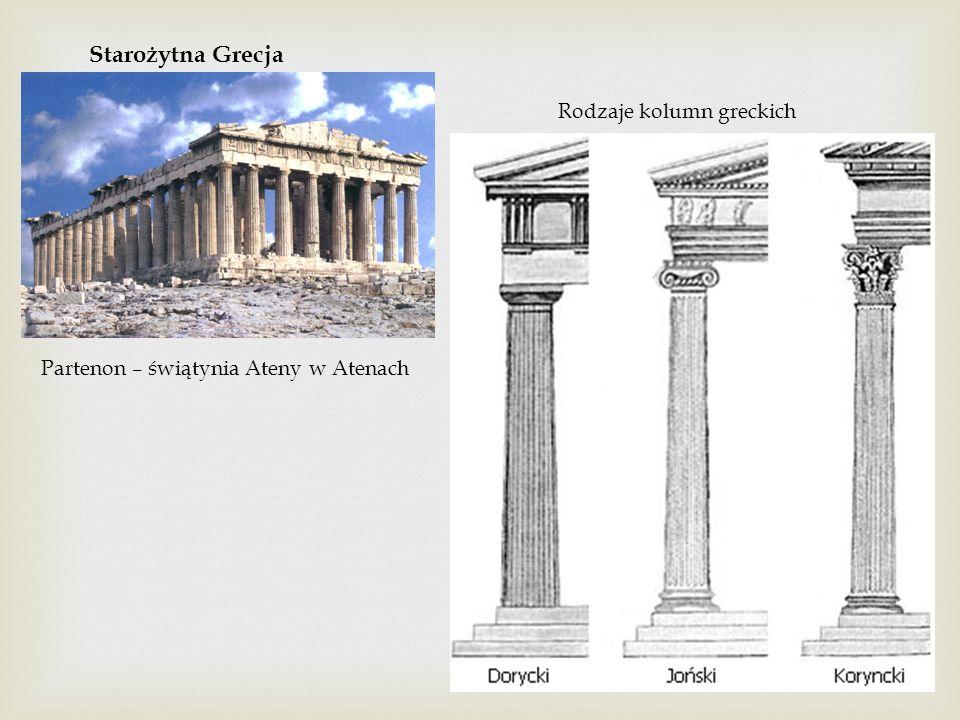 Starożytna Grecja Rodzaje kolumn greckich