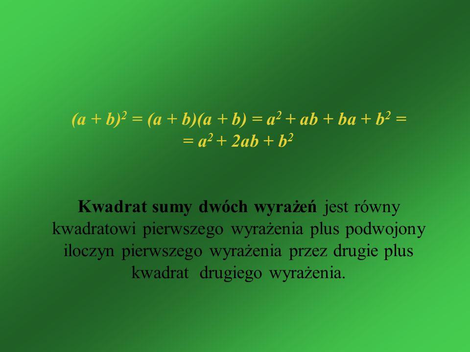 (a + b)2 = (a + b)(a + b) = a2 + ab + ba + b2 =
