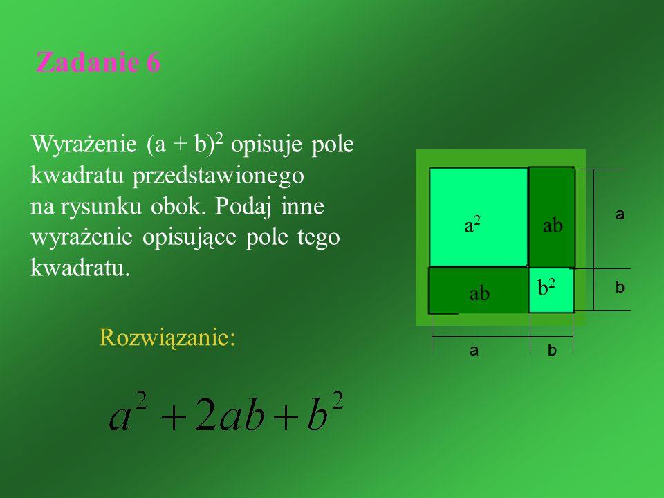 Zadanie 6 Wyrażenie (a + b)2 opisuje pole kwadratu przedstawionego na rysunku obok. Podaj inne wyrażenie opisujące pole tego kwadratu.