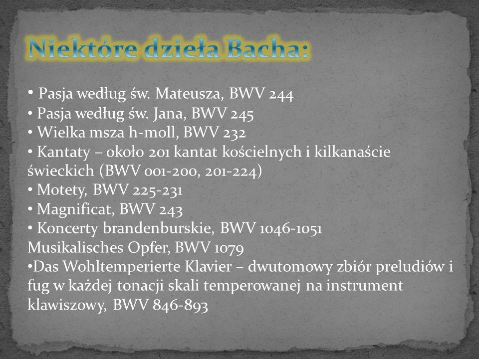 Niektóre dzieła Bacha:
