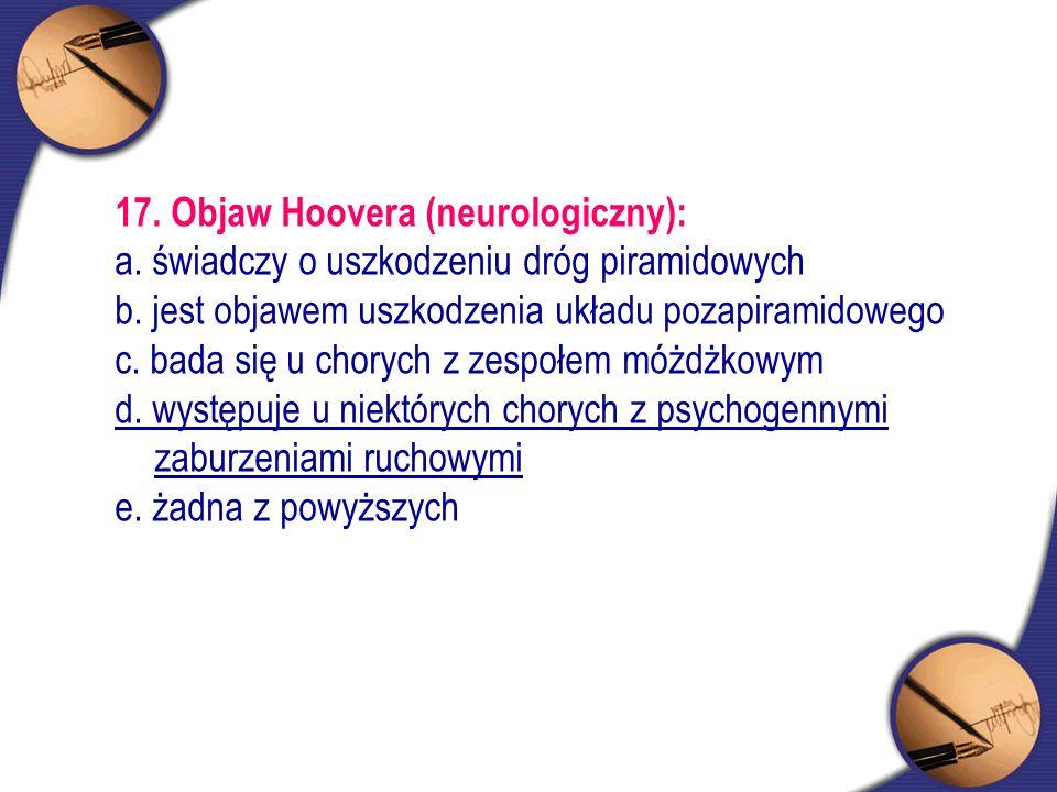 17. Objaw Hoovera (neurologiczny):