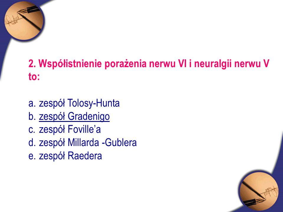 2. Współistnienie porażenia nerwu VI i neuralgii nerwu V