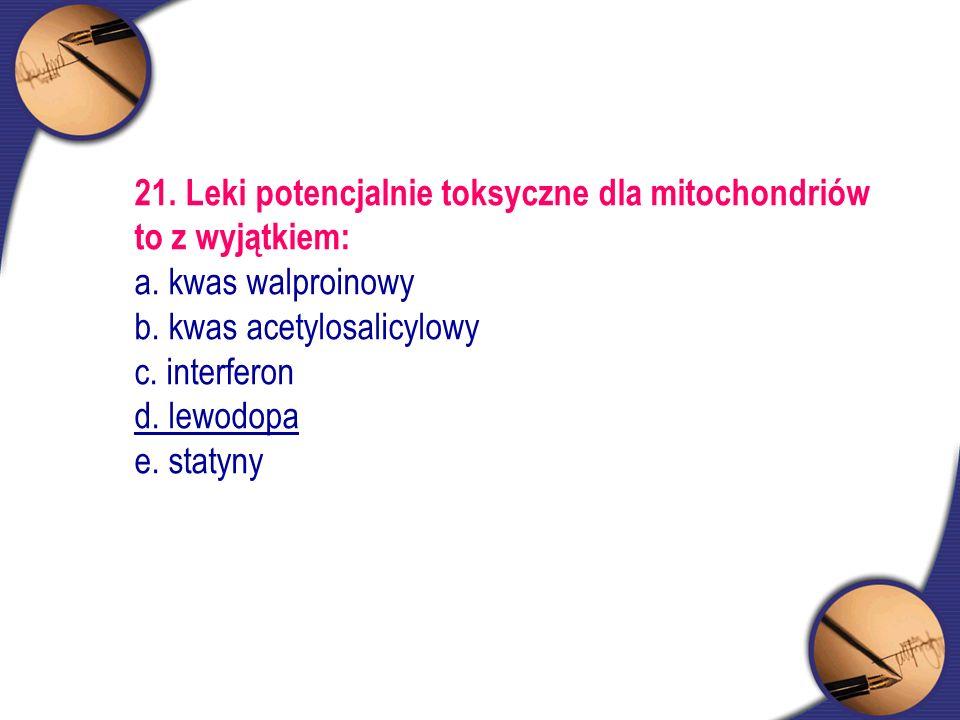 21. Leki potencjalnie toksyczne dla mitochondriów