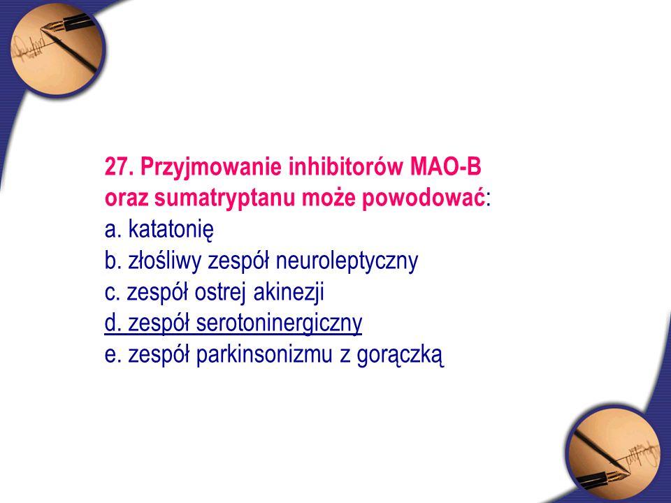 27. Przyjmowanie inhibitorów MAO-B