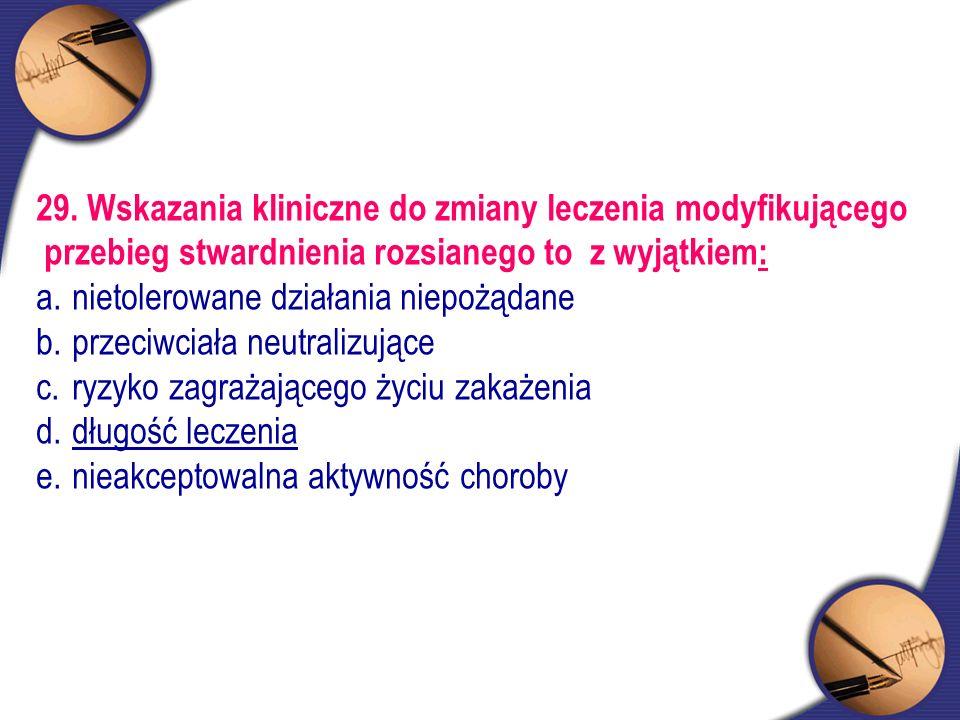 29. Wskazania kliniczne do zmiany leczenia modyfikującego