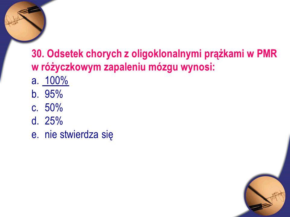 30. Odsetek chorych z oligoklonalnymi prążkami w PMR