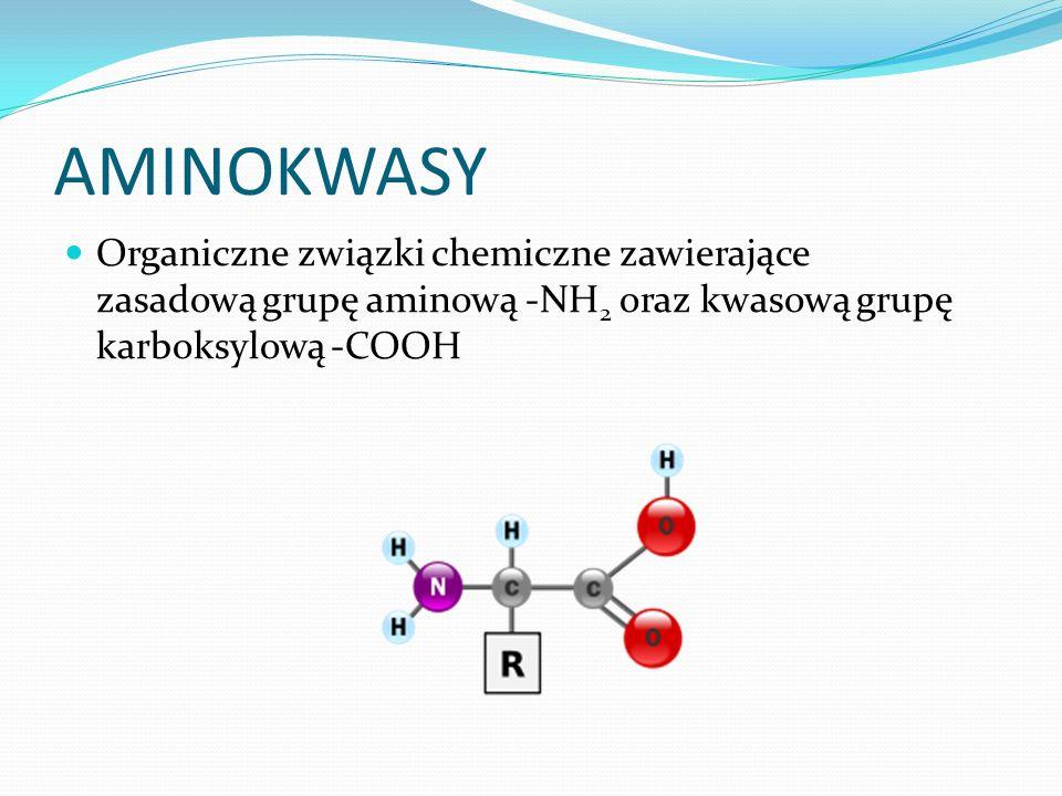 AMINOKWASY Organiczne związki chemiczne zawierające zasadową grupę aminową -NH2 oraz kwasową grupę karboksylową -COOH.