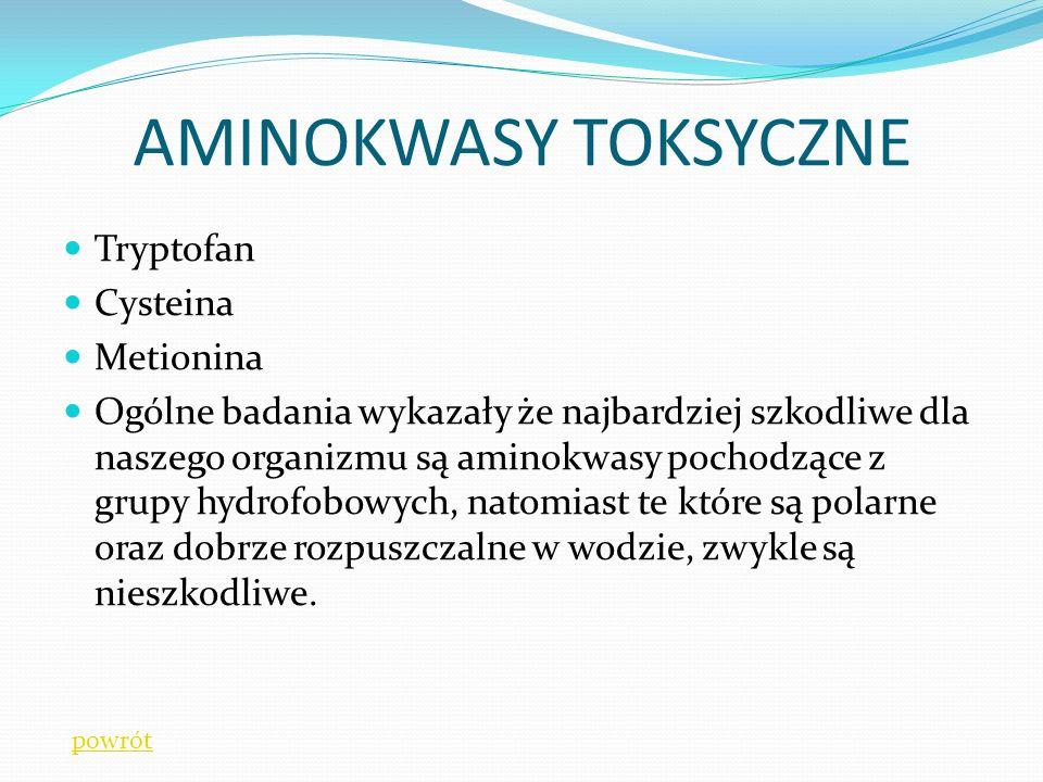 AMINOKWASY TOKSYCZNE Tryptofan Cysteina Metionina