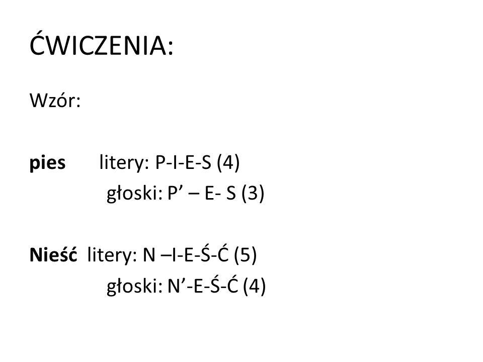 ĆWICZENIA: Wzór: pies litery: P-I-E-S (4) głoski: P' – E- S (3)