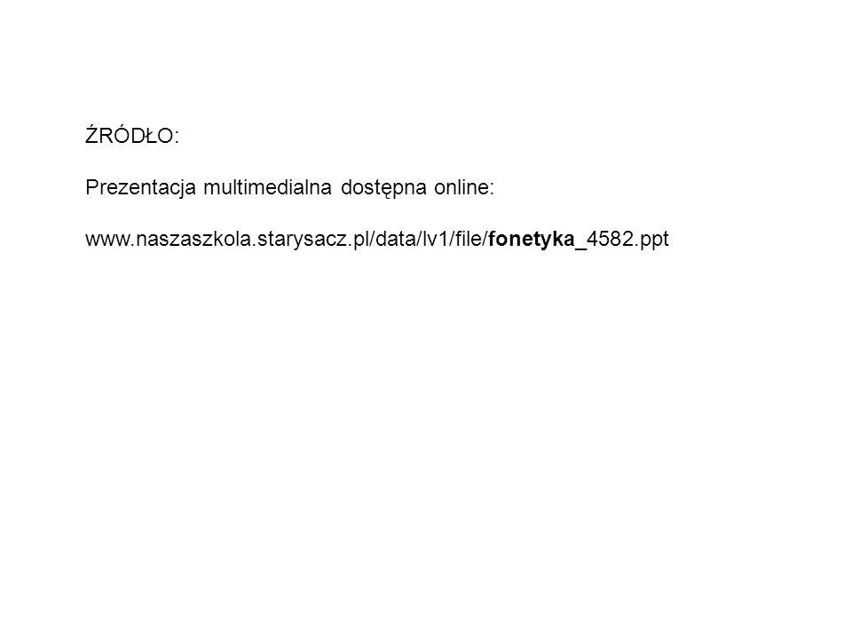 ŹRÓDŁO: Prezentacja multimedialna dostępna online: www.naszaszkola.starysacz.pl/data/lv1/file/fonetyka_4582.ppt.