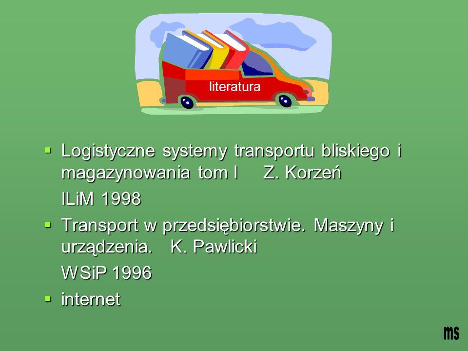 Transport w przedsiębiorstwie. Maszyny i urządzenia. K. Pawlicki