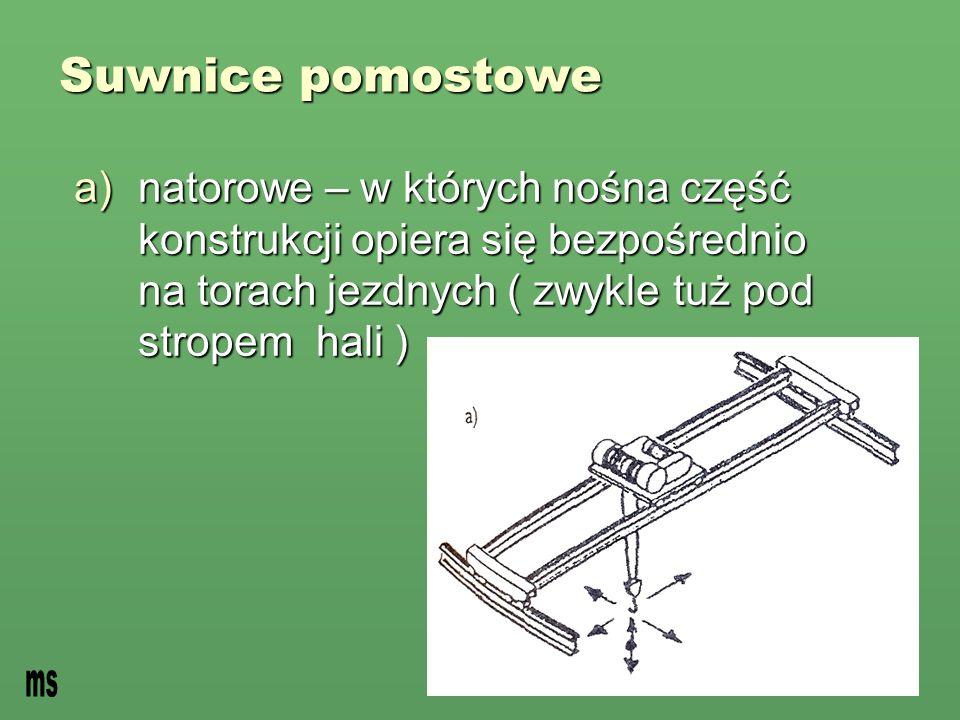 Suwnice pomostowe natorowe – w których nośna część konstrukcji opiera się bezpośrednio na torach jezdnych ( zwykle tuż pod stropem hali )
