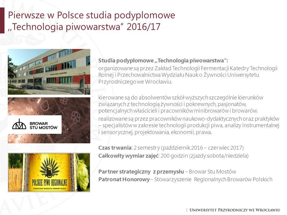 Pierwsze w Polsce studia podyplomowe ,,Technologia piwowarstwa'' 2016/17